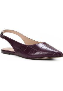 Sapatilha Couro Shoestock Slingback Croco Feminina - Feminino