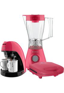 Kit Cadence Colors Rosa Doce - Cafeteira - Liquidificador - Sanduicheira - 127V
