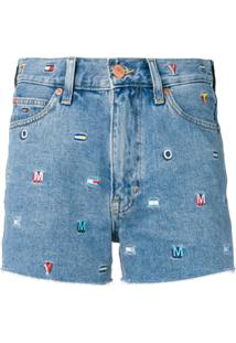 Tommy Jeans Bermuda Jeans Com Logo Bordado - Azul