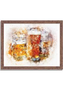 Quadro Decorativo Beer Aquarela Madeira - Médio
