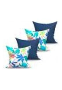 Conjunto De Capas Para Almofada Com 4 Peças Albany Iv Branca E Azul Marinho 60X60 Cm