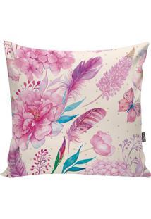 Capa De Almofada Floral- Off White & Rosa- 42X42Cm