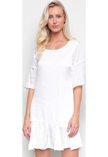 Vestido Drezzup Sino Curto Amplo Babados - Feminino-Off White