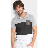 0e8a23020 Camisa Polo Rg 518 Malha Pontilhada Com Bolso Masculina - Masculino-Mescla
