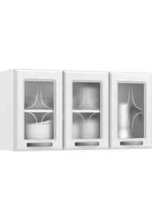 Armário Aereo 3 Portas Com Vidro Rubi Móveis Branco