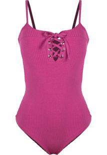Body Outletdri Canelado Básico Alcinha Detalhe Decote Ilhós Pink