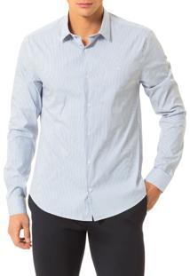 Camisa Slim Calvin Klein Cannes Listra Preenchida Branco - 3
