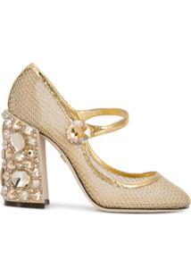 6fa1dc5795 ... Dolce   Gabbana Sapato Mary Jane Com Aplicações - Dourado