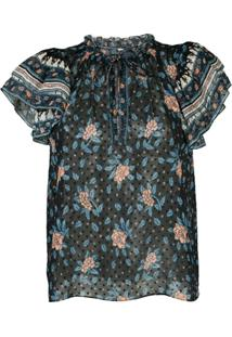 Ulla Johnson Blusa Ida Birds Of Paradise - Azul