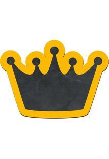 Quadro Decorativo Lousa De Giz Coroa- Preto & Amarelo