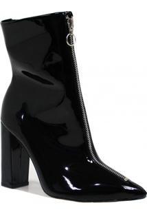 Bota Zariff Shoes Skinny Zíper Feminino - Feminino-Preto