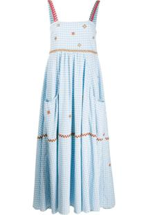 Mira Mikati Vestido Longo Com Estampa Xadrez - Azul