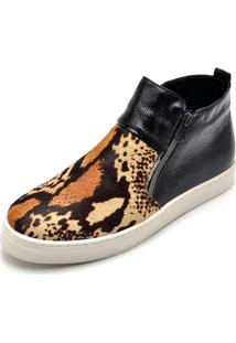 Bota Botinha Feminino Top Franca Shoes Hiate Verniz Preto Onça 2