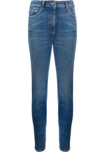 Moschino Calça Jeans Skinny Com Strass - Azul