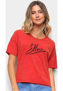 Camiseta Ellus Estampada Feminina - Feminino-Vermelho