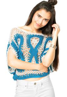 Blusa Colcci Crochê Azul