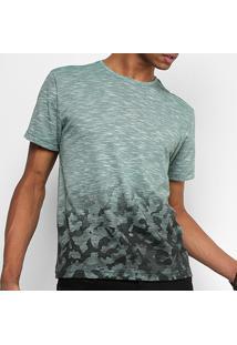 Camiseta Drezzup Flamê Camuflada Masculina - Masculino-Verde