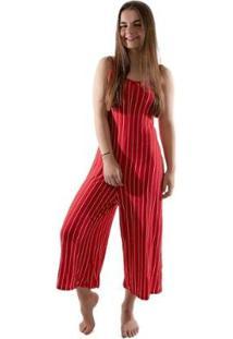Macacão Pantacourt 4 Estações Listrado Moda Sem Bojo Feminino - Feminino-Vermelho
