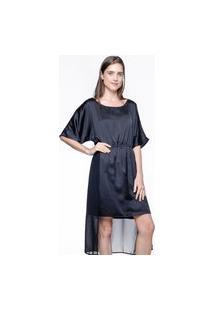Vestido Midi Evasê 101 Resort Wear Kaftan Crepe Preto