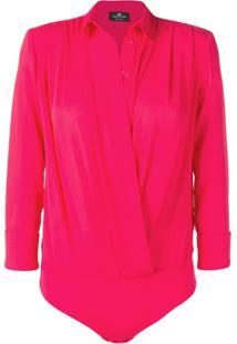 533ac8a6659 ... Elisabetta Franchi Wrap Blouse Bodysuit - Rosa