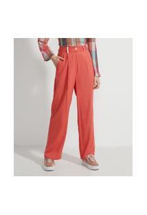 Calça Pantalona Alfaiataria Em Linho Com Passantes Coloridos E Pregas   Blue Steel   Laranja   M