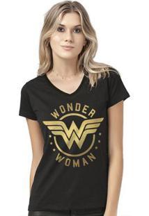 Camiseta Bandup! Wonder Woman Golden Logo - Feminino-Preto