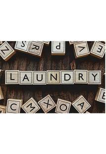 "Tapete Transfer ""Laundry""- Marrom & Bege- 60X40Cm"