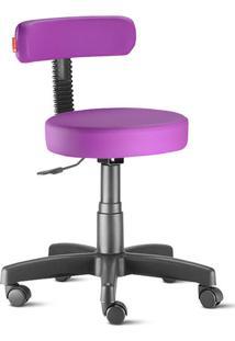 Cadeira Mocho Slim Lilás Escuro Giratória