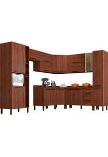 Cozinha Modulada Completa 12 Peças Viv Concept C11 Nogueira/Off White