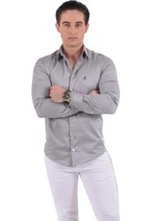 Camisa Social Cinza Horus Super Slim 200109