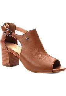 Sandália Couro Shoestock Salto Médio Feminina - Feminino-Caramelo