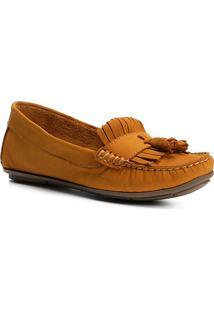 Mocassim Couro Shoestock Franja Feminino - Feminino-Amarelo