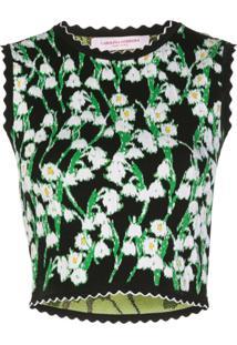 Carolina Herrera Blusa Cropped De Jacquard Floral - Preto
