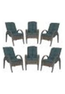 Cadeiras 6Un P/ Jardim Lazer Edicula Varanda Descanso Fibra E Tramas Napoli Plus Pedra Ferro A09