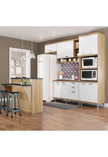 Cozinha Compacta Sicília Sem Tampo 11 Portas 3 Gavetas Argila/Branco - Multimóveis