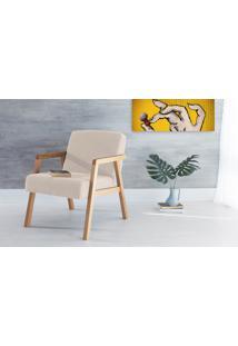 Poltrona Sala De Madeira Decorativa Bege Charlie - Verniz Amendoa \ Tec.924 - 60X74X84 Cm