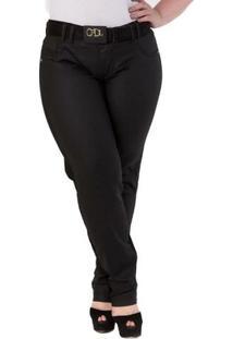 Calça Confidencial Extra Plus Size Sarja Resinada Feminina - Feminino-Preto