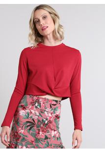 00cc11413 R$ 49,99. CEA Blusa Feminina Cropped Texturizada Com Torção Manga Longa  Vermelha