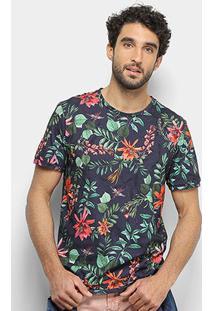 Camiseta Sommer Floral Masculina - Masculino-Marinho+Verde