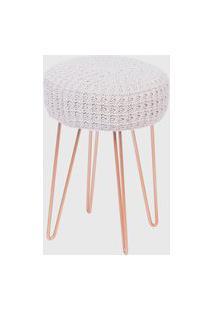 Puff Glamour Croche Base Metal Ordesign Bege