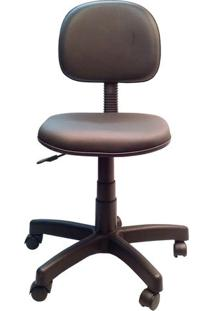 Cadeira Secretária Giratória Em Corino Com Base Preta Solid - Preto