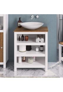 Gabinete Para Banheiro 3 Prateleiras Florida P E C Artemobili Branco/Garapa