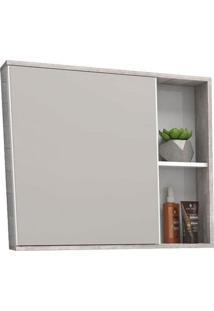 Espelheira Para Banheiro 60Cm Mdf Moema Branco Com Calcare 60X55X12,4Cm - Cozimax - Cozimax
