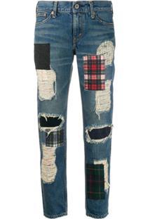 Junya Watanabe Comme Des Garçons Pre-Owned Calça Jeans Destroyed Cintura Média Com Patchwork - Azul