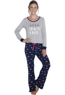 Pijama Longo Inspirate Planetas Cinza