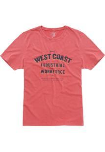 T-Shirt West Coast Industrial Workforce Vermelho