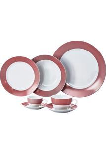Aparelho De Jantar Super White Linhas Vermelha 42 Peças
