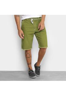 Bermuda Jeans New Skate Comfort New Army Masculina - Masculino-Verde