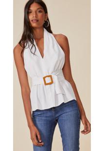 Amaro Feminino Blusa Frente Única Com Cinto, Branco