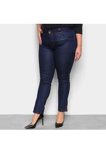 Calça Jeans Plus Size Biotipo Skinny Alice Botão Barra Cintura Média Feminina - Feminino-Azul